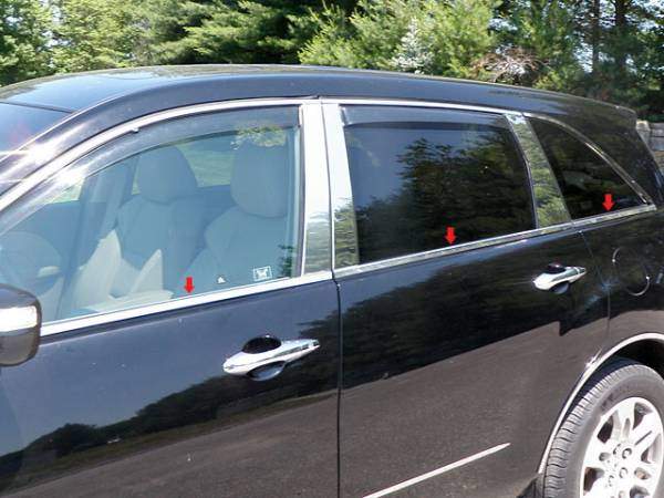 QAA - Acura MDX 2007-2013, 4-door, SUV (6 piece Stainless Steel Window Sill Trim Set ) WS27297 QAA