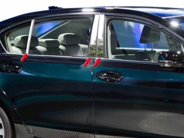 QAA - Acura RLX 2014-2020, 4-door, Sedan (6 piece Stainless Steel Pillar Post Trim ) PP14201 QAA