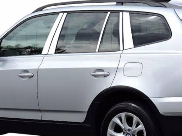 QAA - BMW X3 2004-2010, 4-door, SUV (10 piece Stainless Steel Pillar Post Trim ) PP25942 QAA