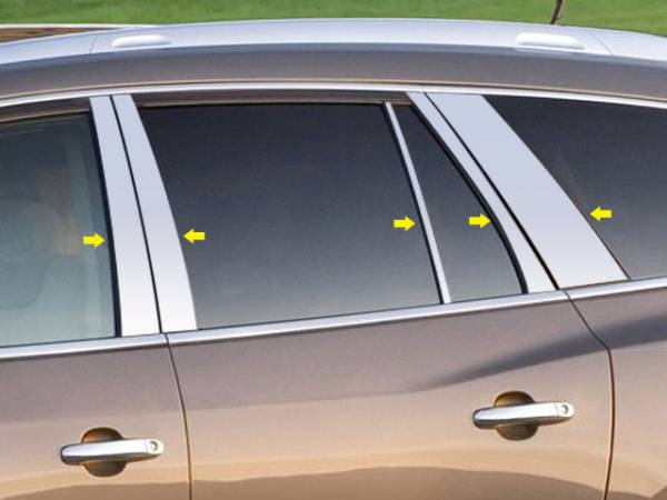 QAA - Buick Enclave 2008-2012, 4-door, SUV (10 piece Stainless Steel Pillar Post Trim ) PP48533 QAA