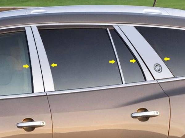 QAA - Buick Enclave 2013-2017, 4-door, SUV (10 piece Stainless Steel Pillar Post Trim Includes Cut Out for Buick Logo ) PP53533 QAA
