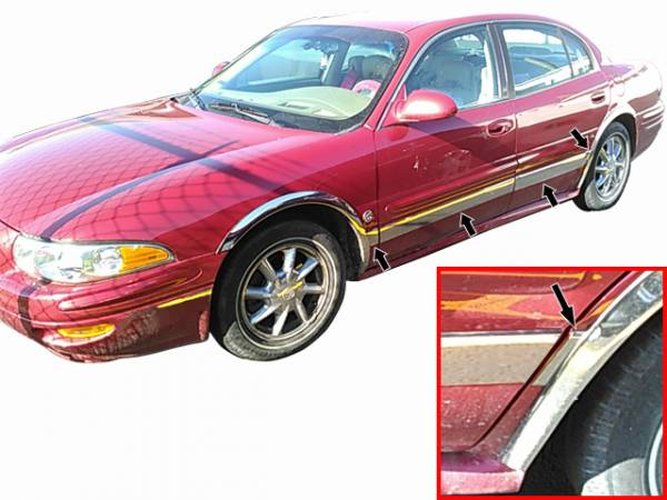 "QAA - Buick LeSabre 2000-2005, 4-door, Sedan (8 piece Stainless Steel Rocker Panel Trim, Upper Kit 3.5"" Width Spans from the bottom of the molding DOWN to the specified width.) TH40565 QAA"