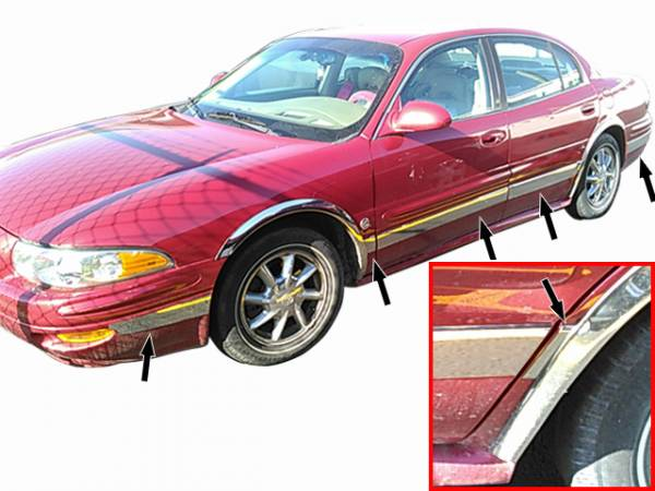 "QAA - Buick LeSabre 2000-2005, 4-door, Sedan (12 piece Stainless Steel Rocker Panel Trim, Upper Kit 3.5"" Width Spans from the bottom of the molding DOWN to the specified width.) TH40567 QAA"