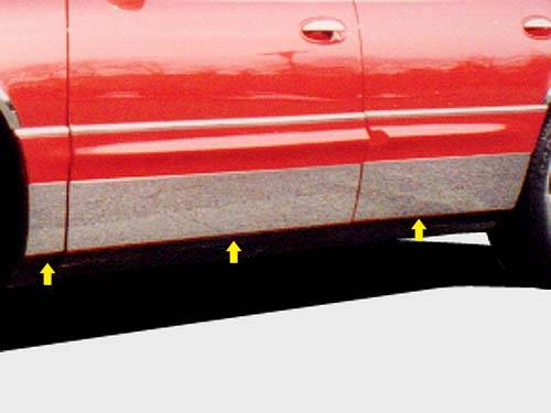 "QAA - Buick Park Avenue 1997-2005, 4-door, Sedan (6 piece Stainless Steel Rocker Panel Trim, Full Kit 7.25"" - 7.5625"" tapered Width Spans from the bottom of the molding to the bottom of the door.) TH37580 QAA"