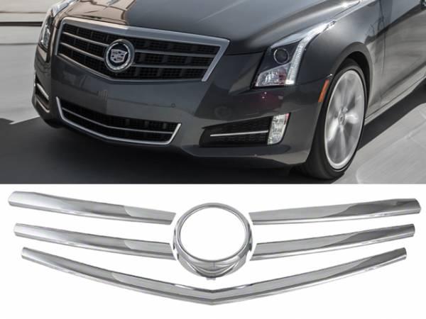 QAA - Cadillac ATS 2013-2015, 4-door, Sedan (6 piece Chrome Plated ABS plastic Grill Overlay ) SGC53235 QAA