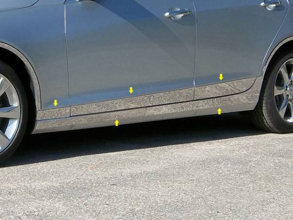 """QAA - Cadillac ATS 2013-2018, 4-door, Sedan (10 piece Stainless Steel Rocker Panel Trim, On the rocker & Lower Kit 7.375"""" Width Installs below the door AND Spans from the bottom of the door UP to the specified width.) TH53237 QAA"""