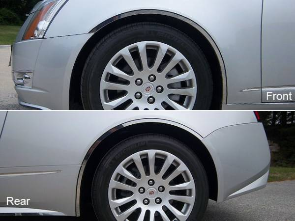 """QAA - Cadillac CTS Coupe 2011-2014, 2-door, Coupe (6 piece Stainless Steel Wheel Well Accent Trim 0.87"""" Width With 3M adhesive installation and black rubber gasket edging.) WQ50254 QAA"""