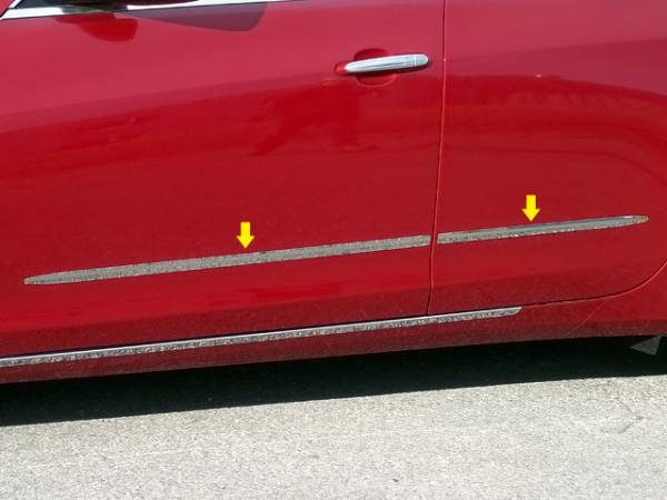 "QAA - Cadillac CTS 2014-2019, 4-door, Sedan (4 piece Stainless Steel Body Side Molding Accent Trim 1"" wide ) AT54250 QAA"