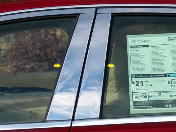 QAA - Cadillac CTS 2014-2019, 4-door, Sedan (4 piece Stainless Steel Pillar Post Trim ) PP54250 QAA