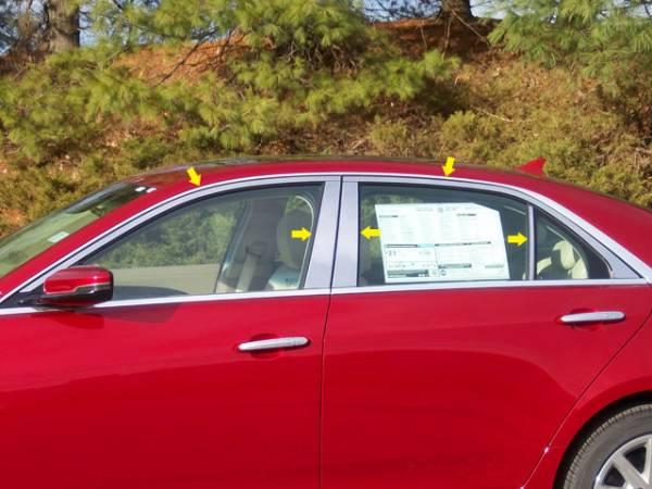 QAA - Cadillac CTS 2014-2019, 4-door, Sedan (10 piece Stainless Steel Window Trim Package Includes Upper Trim and Pillar Posts, NO Window Sills ) WP54250 QAA