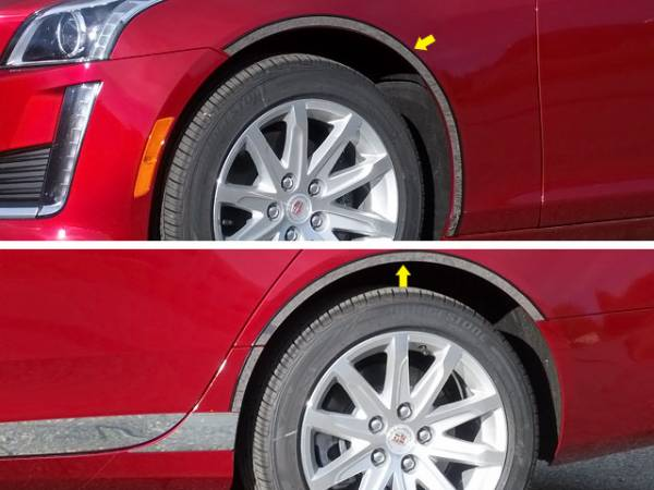 QAA - Cadillac CTS 2014-2019, 4-door, Sedan (6 piece Stainless Steel Wheel Well Accent Trim cut to fit with the Lower TH54250 or Full TH54252 Rocker kits sold separately With 3M adhesive installation and black rubber gasket edging.) WQ54250 QAA