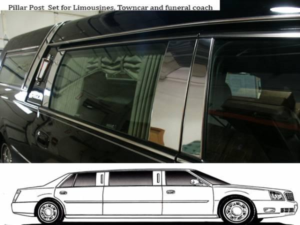 QAA - Cadillac DTS 2006-2011, Federal Hearse (6 piece Stainless Steel Pillar Post Trim ) PP40243 QAA