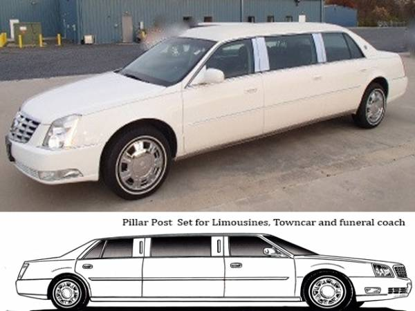 "QAA - Cadillac DTS 2006-2011, 6-door, S&S Limousine, 46"" Extension (8 piece Stainless Steel Pillar Post Trim ) PP40247 QAA"