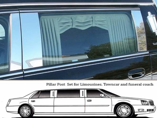 QAA - Cadillac DTS 2006-2011, Eagle Hearse (4 piece Stainless Steel Pillar Post Trim ) PP40249 QAA