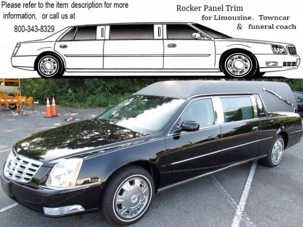 "QAA - Cadillac DTS 2006-2011, S&S Hearse (4 piece Stainless Steel Rocker Panel Trim, On the rocker 2.5"" Width Installs below the door.) TH40254 QAA"