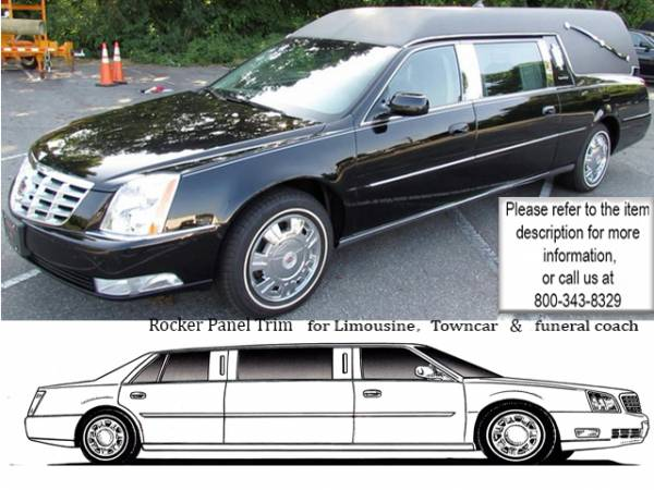 "QAA - Cadillac DTS 2006-2011, Hearse (4 piece Stainless Steel Rocker Panel Trim, On the rocker 2.25"" Width, extended Installs below the door.) TH46249 QAA"