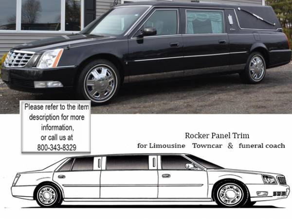 """QAA - Cadillac DTS 2006-2011, Hearse (12 piece Stainless Steel Rocker Panel Trim, Lower Kit 4.5"""" Width, 47"""" extension Spans from the bottom of the door UP to the specified width.) TH46259 QAA"""