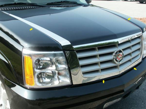 QAA - Cadillac Escalade 2002-2006, 4-door, SUV (4 piece Stainless Steel Hood Accent Trim ) HT42255 QAA