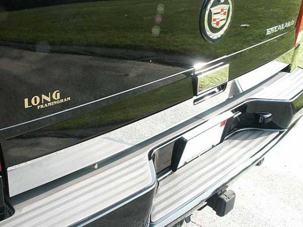 """QAA - Cadillac Escalade 2002-2006, 4-door, SUV (2 piece Stainless Steel Tailgate Accent Trim 3.25"""" Width, With handle cut out ) RT42255 QAA"""