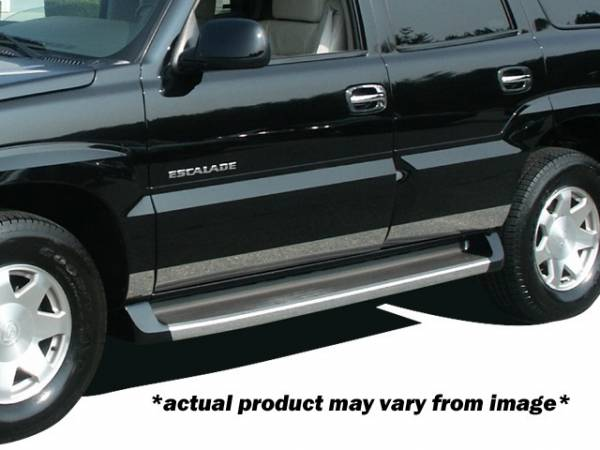 """QAA - Cadillac Escalade 2002-2006, 4-door, ESV (8 piece Stainless Steel Rocker Panel Trim, Lower Kit 4.2"""" - 4.4"""" tapered Width Spans from the bottom of the door UP to the specified width.) TH42257 QAA"""