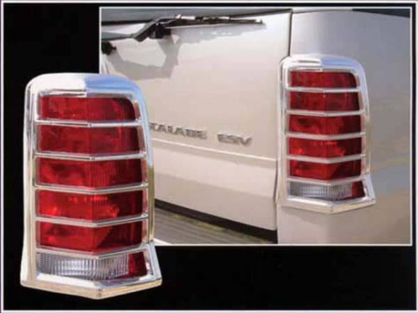 QAA - Cadillac Escalade 2002-2006, 4-door, SUV (2 piece Chrome Plated ABS plastic Tail Light Bezels ) TL42255 QAA