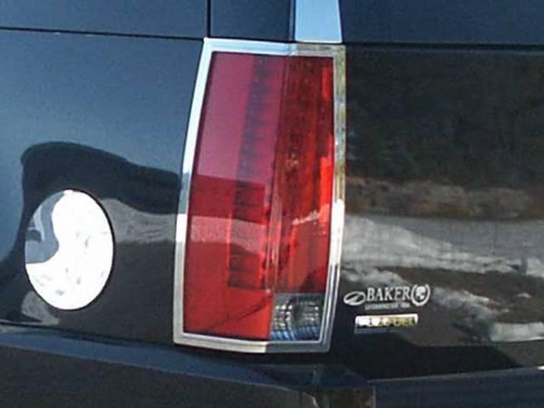 QAA - Cadillac Escalade 2007-2014, 4-door, SUV (2 piece Chrome Plated ABS plastic Tail Light Bezels ) TL47255 QAA