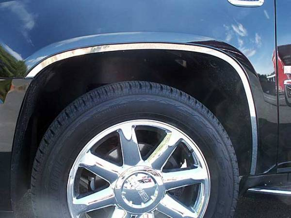 QAA - Cadillac Escalade 2007-2014, 4-door, SUV (6 piece Stainless Steel Wheel Well Accent Trim With 3M adhesive installation and black rubber gasket edging.) WQ47295 QAA
