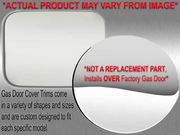 QAA - Cadillac DeVille 1994-1996, 4-door, Sedan (1 piece Stainless Steel Gas Door Cover Trim Warning: This is NOT a replacement cap. You MUST have existing gas door to install this piece ) GC34245 QAA