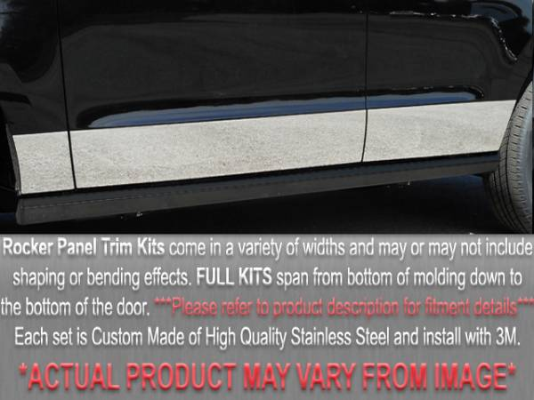 "QAA - Cadillac DeVille 1997-1999, 4-door, Sedan (6 piece Stainless Steel Rocker Panel Trim, Full Kit 7.5"" - 8.625"" tapered Width Spans from the bottom of the molding to the bottom of the door.) TH37246 QAA"