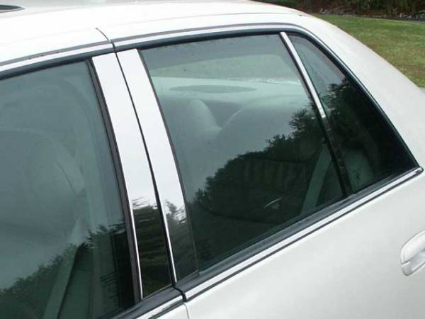 QAA - Cadillac DeVille 2000-2005, 4-door, Sedan (6 piece Stainless Steel Pillar Post Trim ) PP40246 QAA