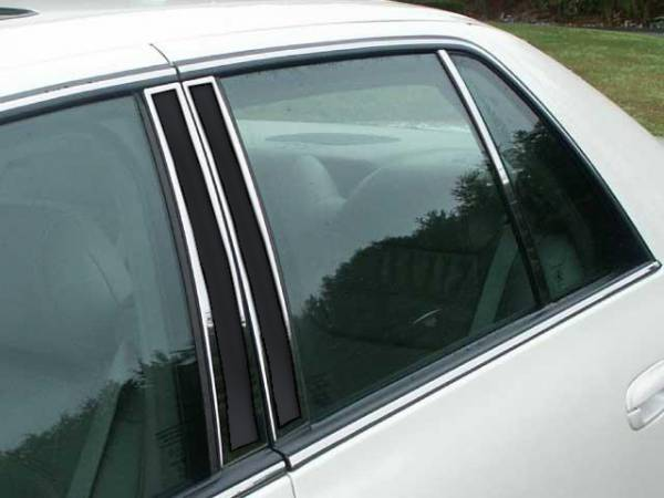 QAA - Cadillac DeVille 2000-2005, 4-door, Sedan (6 piece Stainless Steel Pillar Post Trim With center opera light outlined ) PP40246-OL QAA