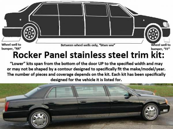 "QAA - Cadillac DeVille 2000-2005, Limousine, 99 5/8"" Stretch (12 piece Stainless Steel Rocker Panel Trim, Lower Kit 4.5"" Width, 99.625"" Between the wheel wells Spans from the bottom of the door UP to the specified width.) TH40237 QAA"