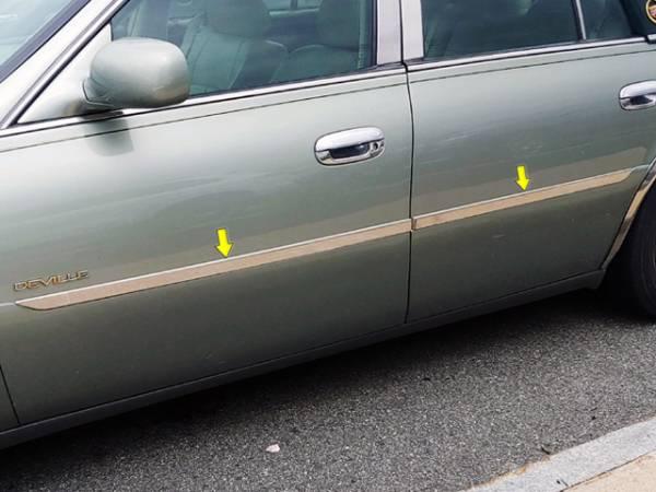 "QAA - Cadillac DeVille 2000-2005, 4-door, Sedan (4 piece Stainless Steel Rocker Panel Trim, Insert Kit 1"" Width Side Molding.) TH40240 QAA"