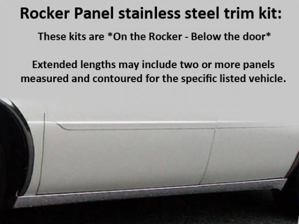 "QAA - Cadillac DeVille 2000-2005, Accubuilt Limousine, 41"" Stretch (6 piece Stainless Steel Rocker Panel Trim, On the rocker 2.25"" Width, 41"" Between the wheel wells Installs below the door.) TH40244 QAA"