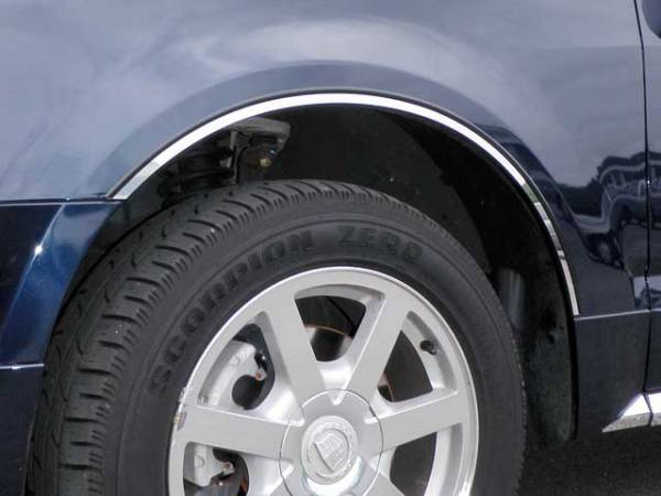 QAA - Cadillac SRX 2004-2009, 4-door, SUV (4 piece Stainless Steel Wheel Well Accent Trim With 3M adhesive installation and black rubber gasket edging.) WQ44260 QAA