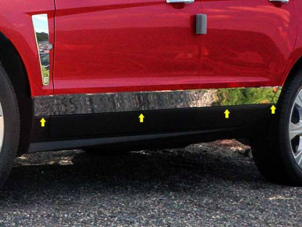 """QAA - Cadillac SRX 2010-2016, 4-door, SUV (8 piece Stainless Steel Rocker Panel Trim, Lower Kit 3.5"""" - 3 0.75"""" tapered Width Spans from the bottom of the door UP to the specified width.) TH50260 QAA"""