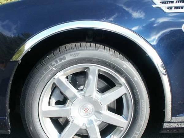 "QAA - Cadillac STS 2005-2011, 4-door, Sedan (4 piece Molded Stainless Steel Wheel Well Fender Trim Molding 1.75"" Width Clip on or screw in installation, Lock Tab and screws, hardware included.) WZ45236 QAA"