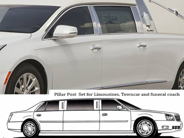 QAA - Cadillac XTS 2013-2019, Federal Heritage Hearse (6 piece Stainless Steel Pillar Post Trim ) PP53237 QAA