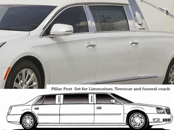 QAA - Cadillac XTS 2013-2019, S&S Superior Hearse (8 piece Stainless Steel Pillar Post Trim ) PP53242 QAA
