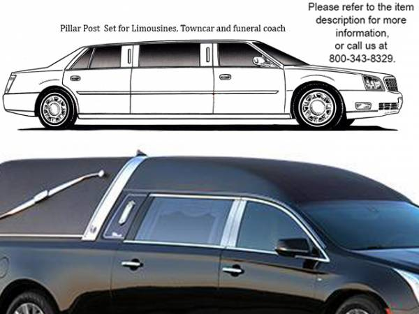 QAA - Cadillac XTS 2013-2019, Federal Hearse (4 piece Stainless Steel Pillar Post Trim ) PP53243 QAA