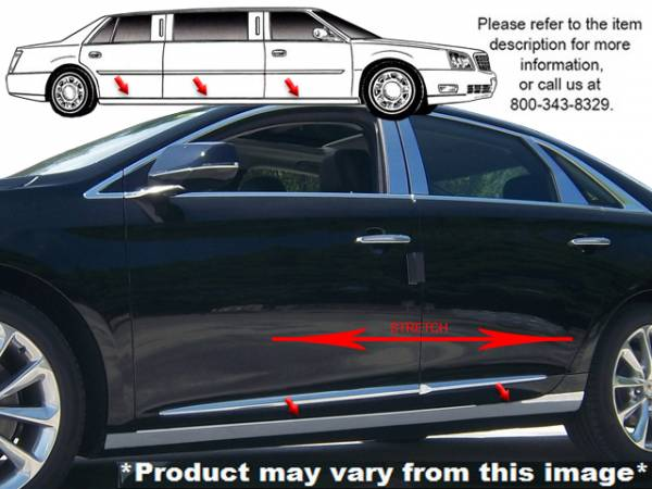 "QAA - Cadillac XTS 2013-2019, Limousine, 44"" Stretch (6 piece Stainless Steel Rocker Panel Trim, On the rocker 3.375"" Width Installs below the door.) TH53240 QAA"