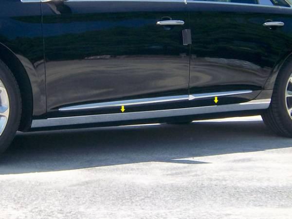 """QAA - Cadillac XTS 2013-2019, 4-door, Sedan (4 piece Stainless Steel Rocker Panel Trim, On the rocker 3.375"""" Width Installs below the door.) TH53246 QAA"""