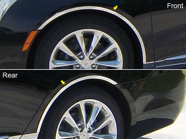 QAA - Cadillac XTS 2013-2017, 4-door, Sedan (4 piece Stainless Steel Wheel Well Accent Trim With 3M adhesive installation and black rubber gasket edging.) WQ53245 QAA