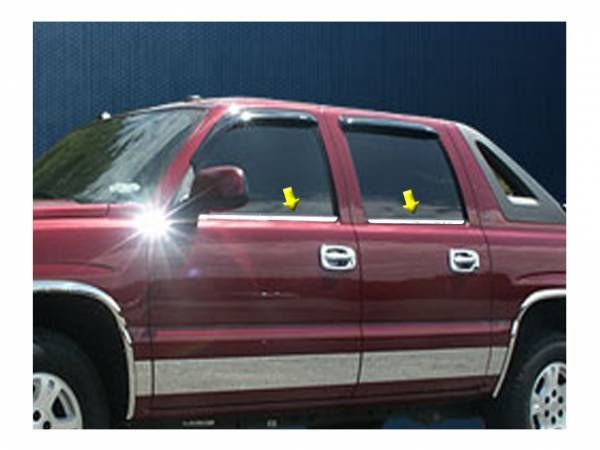 QAA - Chevrolet Avalanche 2002-2006, 4-door, Pickup Truck (4 piece Stainless Steel Window Sill Trim Set ) WS40198 QAA