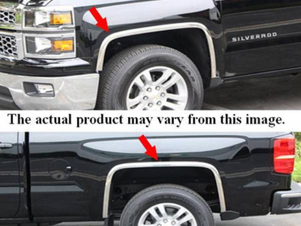 QAA - Chevrolet Colorado 2004-2012, 2-door, 4-door, Pickup Truck (4 piece Molded Stainless Steel Wheel Well Fender Trim Molding With Fender Flares Clip on or screw in installation, Lock Tab and screws, hardware included.) WZ44150 QAA