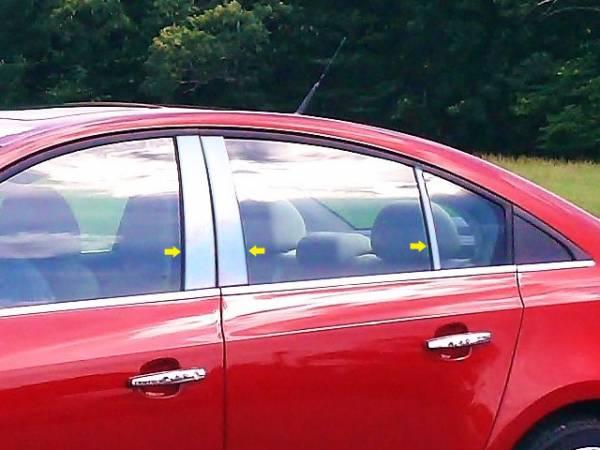 QAA - Chevrolet Cruze 2011-2015, 4-door, Sedan (6 piece Stainless Steel Pillar Post Trim ) PP51146 QAA