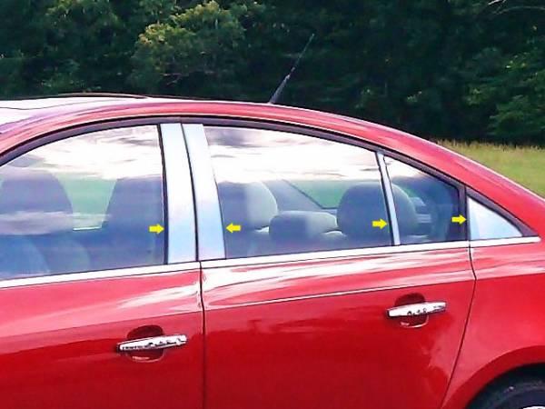 QAA - Chevrolet Cruze 2011-2015, 4-door, Sedan (8 piece Stainless Steel Pillar Post Trim Includes Rear Triangle piece ) PP51147 QAA