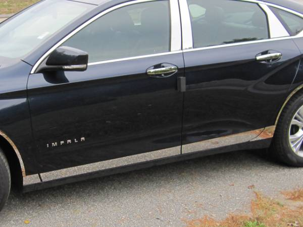 """QAA - Chevrolet Impala 2014-2020, 4-door, Sedan, Does NOT fit the Limited (8 piece Stainless Steel Rocker Panel Trim, Lower Kit 3"""" - 4.375"""" tapered Width Spans from the bottom of the door UP to the specified width.) TH54135 QAA"""