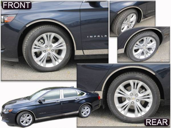 """QAA - Chevrolet Impala 2014-2020, 4-door, Sedan, Does NOT fit the Limited (4 piece Stainless Steel Wheel Well Accent Trim 0.875"""" Width, cut to fit with Rocker kit sold separately With 3M adhesive installation and black rubber gasket edging.) WQ54135 QAA"""