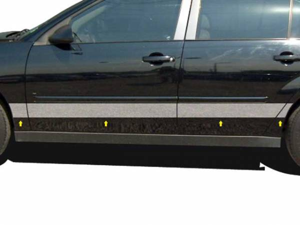 "QAA - Chevrolet Malibu 2004-2007, 4-door, Sedan (8 piece Stainless Steel Rocker Panel Trim, Upper Kit 5.75"" Width Spans from the bottom of the molding DOWN to the specified width.) TH44105 QAA"